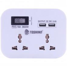 ปลั๊กแปลง 2 ช่อง+2 USB(2.4A) มีสวิตช์ 3600W รุ่น PU-16A